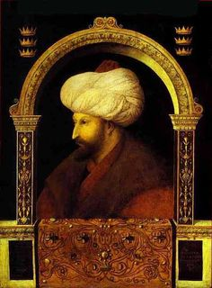 Mehmed the Conqueror (Sultan of the Ottoman Empire Qayser-i Rûm) who conquered Constantinople (modern-day Istanbul) and brought an end to the Byzantine Empire. Portrait by Italian painter Gentile Bellini. Mehmed The Conqueror, Vlad El Empalador, Istanbul, Fall Of Constantinople, Empire Ottoman, Art Occidental, Giovanni Bellini, Renaissance Kunst, Ottoman Turks