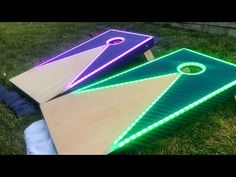 How to make an easy DIY cornhole board and a super cool color changing LED and epoxy cornhole board. Now the game doesnt have to stop once the sun goes down! Building Cornhole Boards, Cornhole Board Plans, Custom Cornhole Boards, Cornhole Scoreboard, Cornhole Set, Jenga Diy, Transformers, Fall Wood Projects, Cornhole Designs