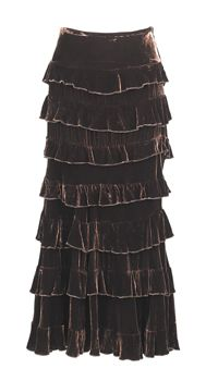 Velvet Princess Skirt  A cascade of tiers in lustrous, chocolate velvet calls attention to your curves. An outstanding party skirt! 25% silk/75% rayon with full lining and side zipper.
