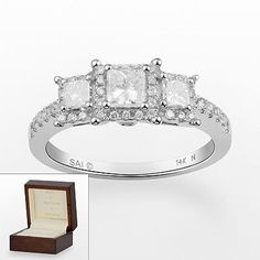 Past, Present, Future 14k White Gold 1-ct. T.W. Certified Princess-Cut Diamond 3-Stone Ring