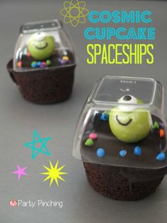 Little Debbie Cosmic Cupcakes, Cosmic Cupake Spaceships, Cosmic Cupcake Creatures, Cosmic Cupcake Aliens, Space party ideas, space cupcakes,...