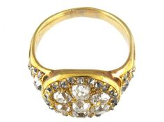 Large Victorian Diamond Gold Cluster Ring | From a unique collection of vintage cluster rings at https://www.1stdibs.com/jewelry/rings/cluster-rings/