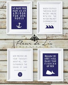 Nautical Theme Bible Verse ocean water religious home decor Nautical Bedroom, Nautical Bathrooms, Nautical Home, Bathroom Kids, Kids Bath, Nautical Theme Bathroom, Vintage Nautical Decor, Fish Bathroom, Nautical Nursery Decor