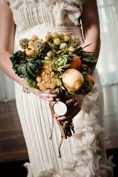 It's a little out there - but incorporating fruits and vegetables into your bouquet would make a great choice for a farm wedding!