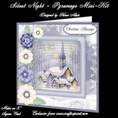"""Silent Night 8 Square Card Pyramage Mini Kit on Craftsuprint designed by Karen Adair - This two sheet mini-kit will make a pretty 8"""" square Christmas card, with 7 layers of pyramage. Six sentiment tags included, one left blank for you to personalise if you wish. If you like this check out my other designs, just click on my name. - Now available for download!"""