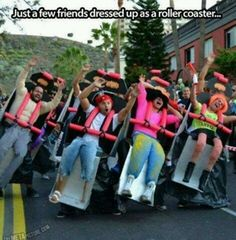 Funny pictures about Clever Roller Coaster Costume. Oh, and cool pics about Clever Roller Coaster Costume. Also, Clever Roller Coaster Costume photos. Clever Halloween Costumes, Cool Costumes, Halloween Diy, Costume Ideas, Funny Costumes, Halloween Clothes, Halloween Humor, Funniest Costumes, Group Halloween Costumes For Adults