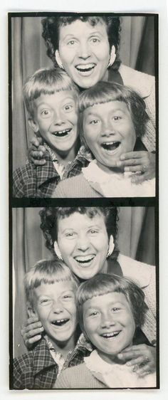 +~ Vintage Photo Booth Picture ~+  Love this photo booth of Mom and her two kids, she's even tickling them getting them to laugh more!