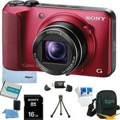 Sony Cyber-shot DSC-HX10V 18.2 MP Exmor R CMOS Digital Camera with 16x Optical Zoom and 3.0-inch LCD (Red) BUNDLE with Sony 16GB Card, Spare Battery, Card Reader, Case, Mini Tripod, LCD Screen Protectors, Lens Cleaning Kit + More! by Sony. $299.99. Capture the decisive moment and its GPS location automatically with the DSC-HX10V. Its 16X Optical/32X Clear Image zoom gets you in close for detailed 18MP pictures, provides optical stabilization for smooth Full HD videos and high sp...