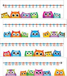 Colorful Owls Number Line Bulletin Board Set (CD-110266) #classroom #decor #AILtyler