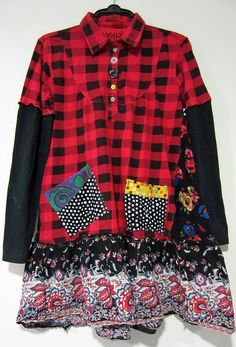 Red Black check Upcycled Tunic fits M L XL by monapaints on Etsy, $159.00