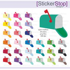 Mailbox Icon Digital Clipart in Rainbow Colors - Instant download PNG files by StickerStop on Etsy