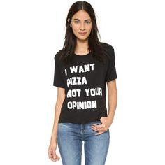 CHRLDR Pizza T-Shirt (67 CAD) ❤ liked on Polyvore featuring tops, t-shirts, black, black t shirt, print tees, short sleeve tops, ribbed t shirt and print t shirts