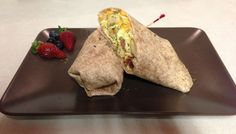 Breakfast wrap ~ scrambled eggs, bacon, cheese & home fries in a whole wheat tortilla.