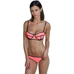 Bra Society Women's Watermelon Trendy Adjustable Neoprene Style Bikini ($32) ❤ liked on Polyvore featuring swimwear, bikinis, pink, balconette bra, pink bikini, bikini top, underwire bikini and underwire bikini top