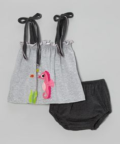 Look what I found on #zulily! Silver Sea Horse Camisole & Charcoal Bloomers - Infant by Victoria Kids #zulilyfinds