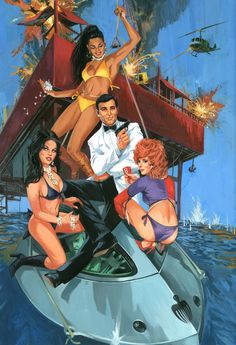 James Bond 007 Artwork for 'Diamond Are Forever' - looks more Lazenby than Connery. US actor James Brolin also auditioned for Bond,