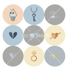 Happy Valentines Day Icons Vector On Vectorstock Happy Valentines Day