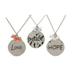 Set of 3 Inspirational Charm Necklaces by Garold Miller (1,605 INR) ❤ liked on Polyvore featuring jewelry, necklaces, beaded necklaces, circle necklace, peace necklace, heart shaped pendant necklace and heart charm