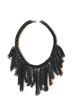Black Chainmaille Fringe Necklace by skycubacub on Etsy