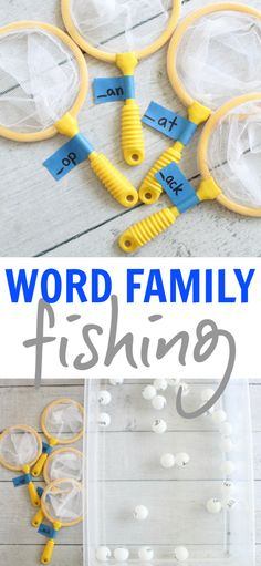 Family Fishing Word Family Activity using ping pong balls and nets! Great for kinesthetic learners!Word Family Activity using ping pong balls and nets! Great for kinesthetic learners! Kindergarten Centers, Kindergarten Reading, Teaching Reading, Guided Reading, Phonics Activities, Literacy Stations, Literacy Centers, Writing Centers, Speech Therapy