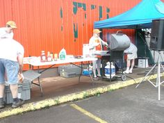 Getting the grill going at our Inverness store for The Heart & Stroke Foundation's Big Bike Ride!