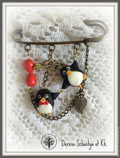 Купить Брошь булавка Пингвины - чёрный, ппингвины, брош для девочки, брошь булавка, медная брошь