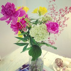 a bouquet I picked today of hydrangea, pink peony, and yellow primrose