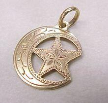 Victorian Era 14k Gold Charm  Crescent Moon & Star..