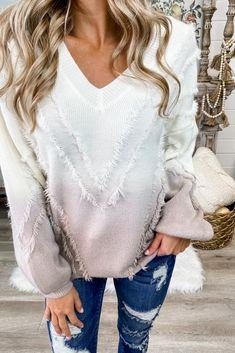 Ombré Fringe Sweater (Dusty Mauve) – Simply Me Boutique