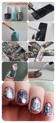 Great (cleaner) splatter tutorial all done on a plastic bag. Love these ideas! | From Spektor's Nails