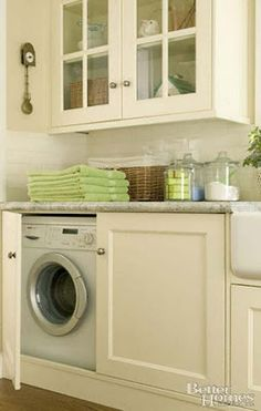 cabinetry hides the washer & dryer when you do not have enough space for a separate laundry room.