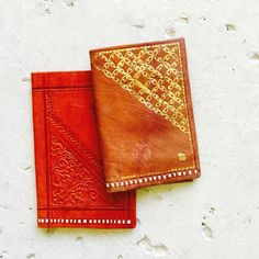 Moroccon Red + Gold Embellished Leather Wallet