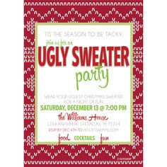 Ugly Sweater Holiday Party Invitation | KateOGroup