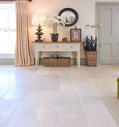 This is a more rustic version of this limestone with a tumbled finish, which makes the floor a little more lively and conspicuous. *Dutch Pattern – When purchasing a pattern set there are minimum order quantities. A complete pattern set must be purchased.... Read more Stone Tile Flooring, Hall Flooring, Vinyl Flooring, Kitchen Flooring, Cosy Kitchen, Blue Kitchen Cabinets, Hallway Storage, Style Tile, Flooring Options