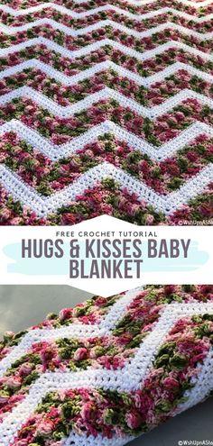 How to Crochet Hugs & Kisses Baby Blanket - Tricot Pontos Crochet Afghans, Crochet Baby Blanket Free Pattern, Chevron Blanket, Crochet Ripple, Afghan Crochet Patterns, Chevron Crochet Blanket Pattern, Chevron Baby Blankets, Baby Afghans, Crochet Gratis
