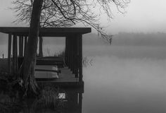 Foggy Dock, Black and White Photography - Fine Art Print