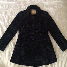 Free People Brocade Jacket Never worn Free People Brocade Jacket in black suede and navy Free People Jackets & Coats Utility Jackets