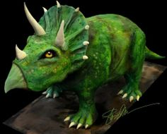 Triceratops dinosaur cake - all buttercream!  Could be for a boy or girl of course!