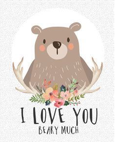 I Love You Beary Much Canvas Art - Klosh - Naiise