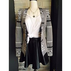 It's Friday!!! And we're GNO ready with our Emmie High Gloss skirt, Tribal Chic Blazer, and White V-neck sleeveless top!