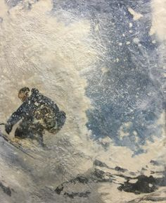 Back Country, encaustic ski painting by Lee Anne LaForge Bear Paintings, Cute Paintings, Outdoor Rink, Sports Painting, Encaustic Painting, Canadian Artists, Winter Landscape, Learn To Paint, Fine Art Gallery