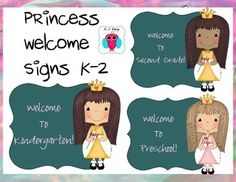 This is a princess themed welcome sign set that says Welcome to ___________________. They come in three princess choices (as pictured on the cover) and they are labeled for grades Preschool-2nd.