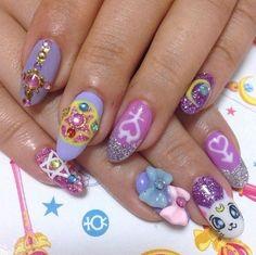 Sailor Moon nails, like a true moon princess