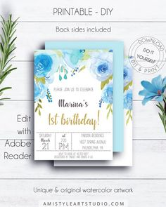 Floral 1st Birthday Invite with fashionable and cute hand-painted blue watercolor florals in whimsical style by Amistyle Art Studio on Etsy First Birthday Invitations, Whimsical Fashion, Gold Birthday, Printable Invitations, Floral Watercolor, First Birthdays, Invite, Party Supplies, Stationery