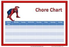 Chore Chart with Spiderman