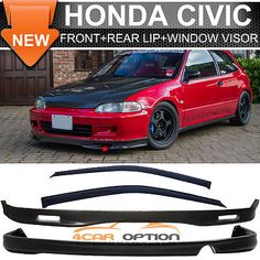 92-95 Honda Civic 2Dr SPOON Style Front + Rear Bumper Lip + Sun Window Visors