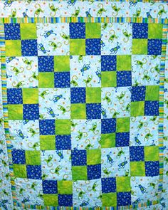 Easy 4-patch quilt in 8 pics, but with d/loadable instructions. Martha Stewart dot com.