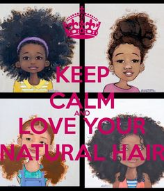 This Picture is Telling little black girls to be happy with their own natural hair