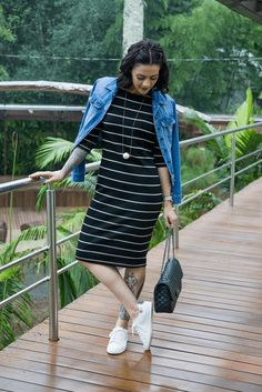 Striped Dress + Denim Jacket + White Converse Sneakers