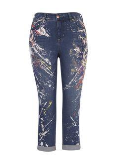 7d018b9d317c9 Skinny Roll Up Paint Jean Women s Plus Size Jeans